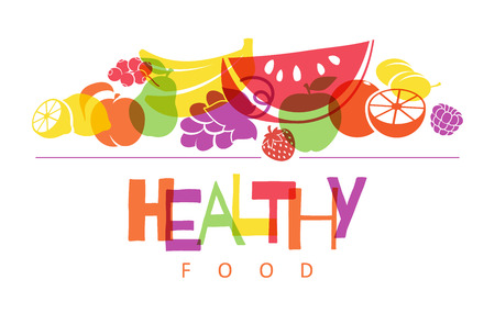 overlapping: Colorful fruits background. Healthy food concept.