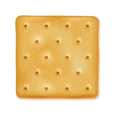 Crispy cracker isolated. Crunchy biscuit. Yellow square cookie. Иллюстрация