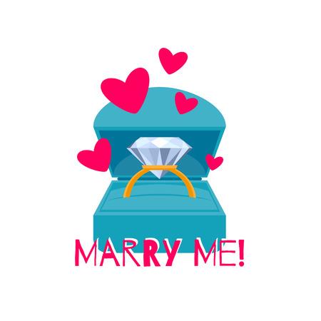anillo de compromiso: Caja de regalo con el anillo de compromiso colorido. Propuesta Hay joyería actual. Diseño de la tarjeta. Estilo Flat.