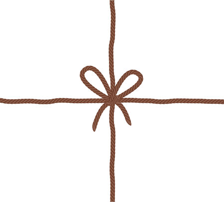 jute: Rope bow knot - crossed threads. Brown color. Include vector brush.