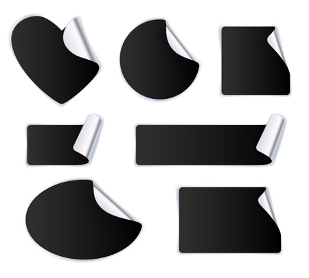 label sticker: Set of black stickers - silver foil reverse side. Peeled off paper labels. Heart, circle, square, oval. Illustration