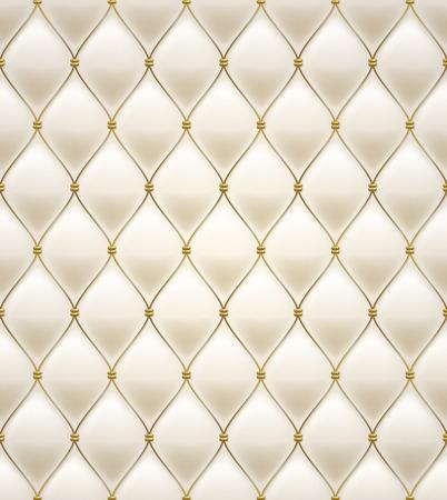 キルトのシームレスなパターン。クリーム色。黄金の繊維のステッチを舗装します。