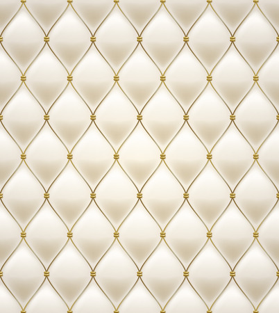 Quilted seamless pattern. Cream color. Golden metalling stitching on textile.