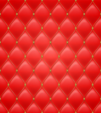 quilted: Quilted seamless pattern. Red color. Golden metalling stitching on textile.