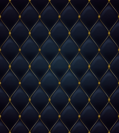 Quilted seamless pattern. Black color. Golden metalling stitching on textile.