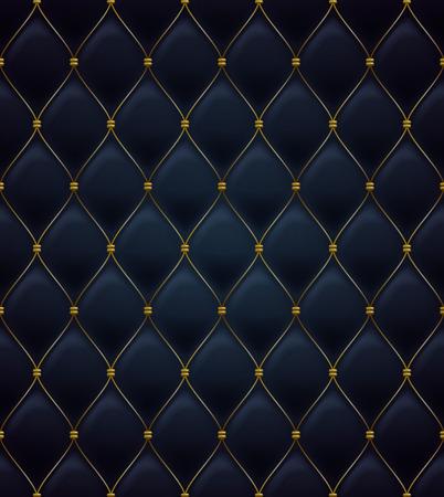 Modelo inconsútil de acolchado. De color negro. Costuras firmes de oro en el textil. Vectores