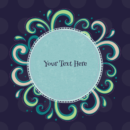 dashed: Swirls colorful vintage background. Curls and drops surrounding round green frame on dark blue back. Illustration