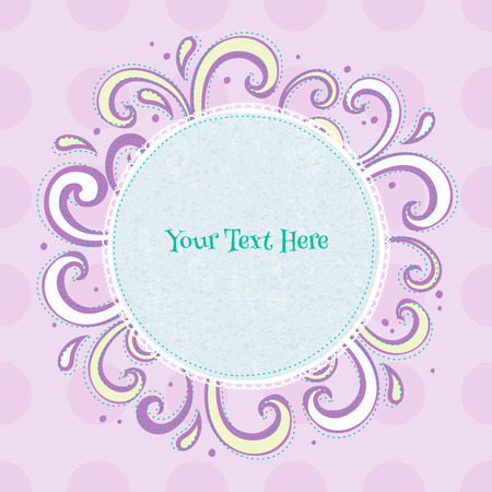 Swirls colorful vintage background. Curls and drops surrounding round mint green frame on light purple back. Vector