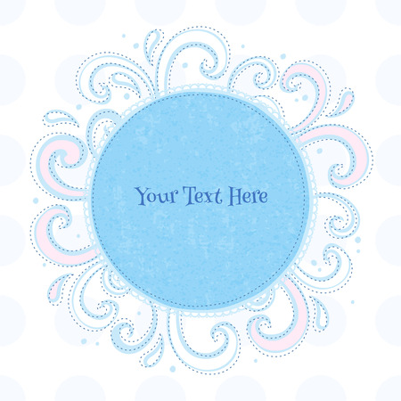 the white back: Swirls colorful vintage background. Curls and drops surrounding round blue frame on white back.