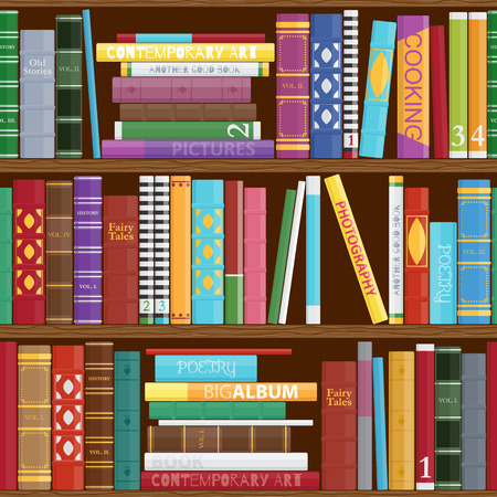 books library: Seamless book shelves background. Colorful book covers pattern.