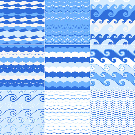 blue sea: Set of seamless sea waves patterns. Ocean background.
