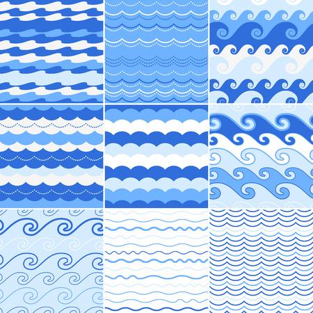Set van naadloze zee golven patronen. Oceaan achtergrond. Stock Illustratie