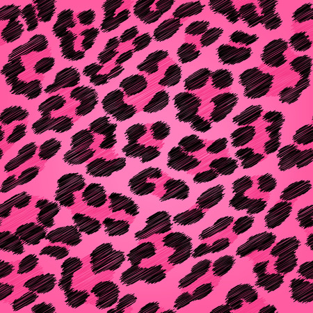 Leopard fur seamless scribble pattern - black and pink colors. Illustration
