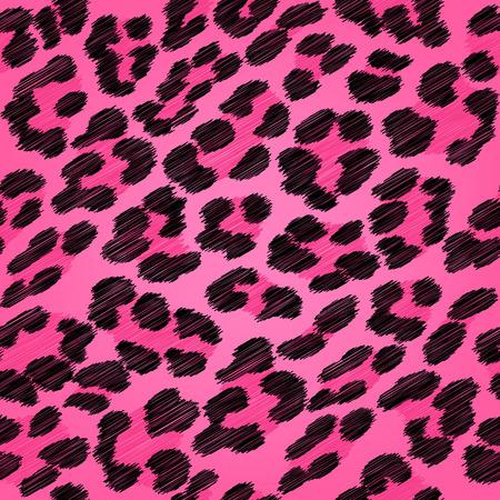 Luipaard bont naadloze kattebelletje patroon - zwart en roze kleuren. Stock Illustratie
