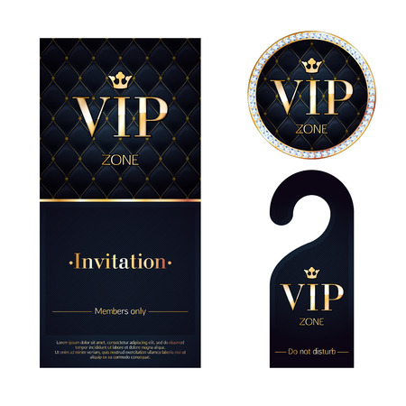wealth: VIP zone members premium invitation card, warning hanger and round label badge. Black and golden design template set. Quilted dexture, diamonds and metal.
