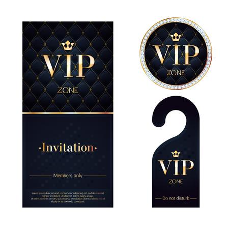 VIP-Zone Mitglieder Premium Einladungskarte, Warn Kleiderbügel und runden Etikett Abzeichen. Schwarze und goldene Design-Vorlage-Set. Stepp dexture, Diamanten und Metall. Vektorgrafik