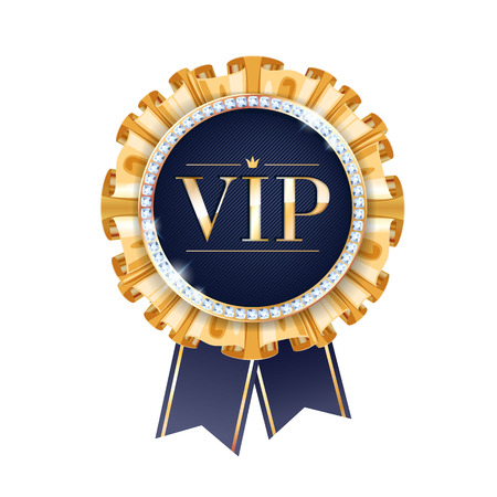 gemstone jewelry: VIP vector round badge with ribbons and diamonds. Label with golden fringe and letters.