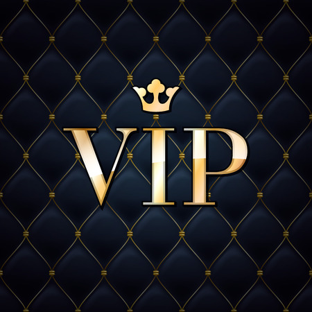 wealth: VIP abstract quilted background, diamonds and golden letters with crown. Illustration