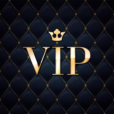 oro: VIP fondo abstracto acolchado, los diamantes y las letras de oro con corona. Vectores