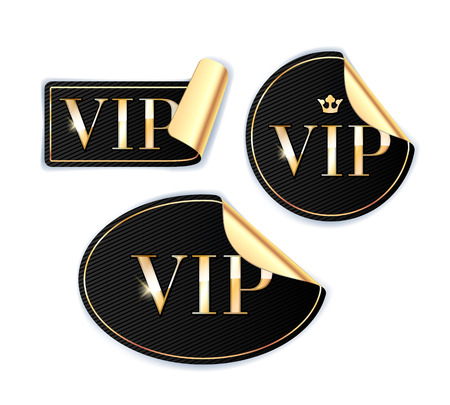 vip badge: VIP stickers with golden reverse side set. Black color.