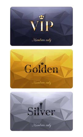 VIP cards with abstract mosaic background. Different cards categories - VIP, golden, silver. Members only design. Ilustração