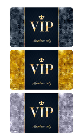 membership: VIP cards with abstract mosaic background. Different cards categories - VIP, golden, silver. Members only design. Illustration