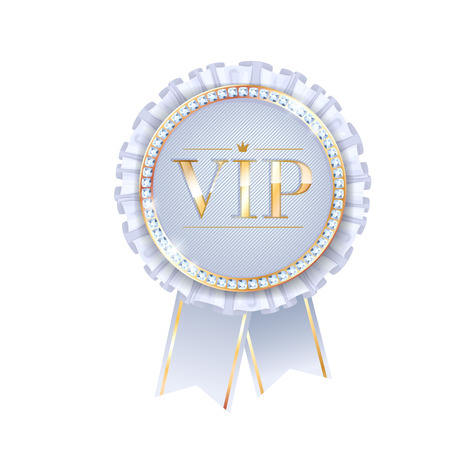 vip badge: VIP white vector round badge with ribbons and diamonds. Label with fringe and golden letters.