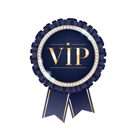 vip design: VIP black vector round badge with ribbons and diamonds. Label with fringe and golden letters. Illustration