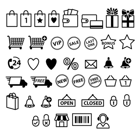 Shopping e-commerce icons set. Supermarket services pictograms