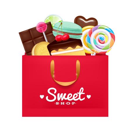 Bolsa de regalo rojo con macarrón Dulces-, pastel, lollipop, caramelo, chocolate. Presente Sweet. Vectores