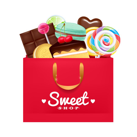 pastry bag: Red gift bag with sweets- macaron, cake, lollipop, candy, chocolate. Sweet present.