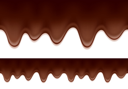 Melted chocolate drips - seamless horizontal border. Sweet food background.