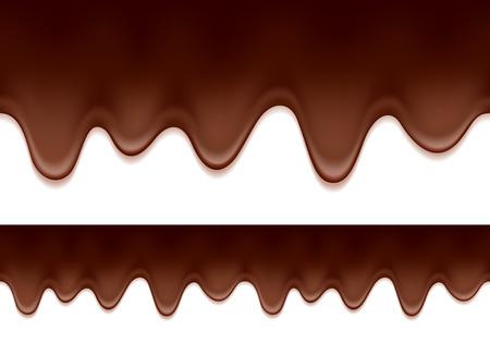 甘い食べ物: 溶かされたチョコレートのしずく - シームレスな水平方向の境界線。甘い食べ物の背景。