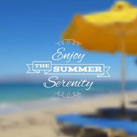 sun umbrella: Vector seaside blurry summer sea landscape with beach chair and sun umbrella. Vacation, travel, holiday tour backdrop.