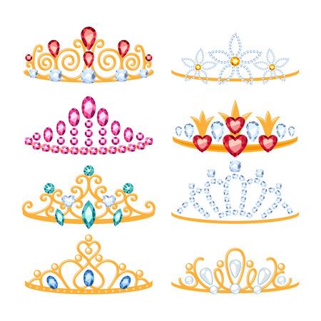 Set of beautyful golden tiaras with gemstones. Cartoon style. Jewelry collection. 일러스트