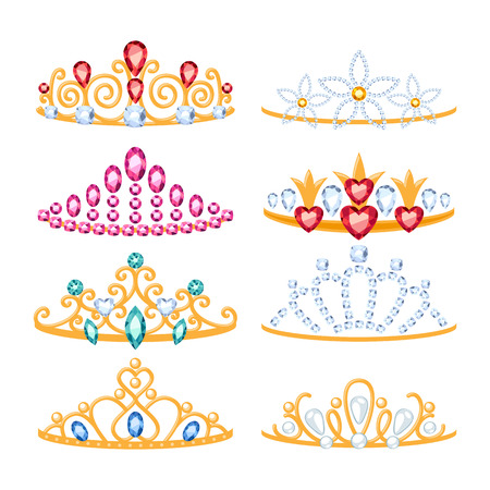 Set of beautyful golden tiaras with gemstones. Cartoon style. Jewelry collection. Иллюстрация