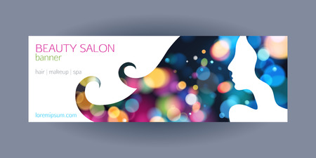 Beautiful girl spa salon banner template. Colorful glow bokeh background with ladys silhouette. Иллюстрация
