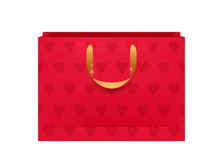 Blank red paper bag with golden handles and hearts pattern. Packaging design mock-up. Vector