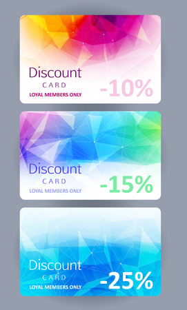 message card: Discount gift cards set. Abstract mosaic faceted background. Illustration