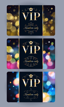 VIP cards with abstract bokeh glow background. Different cards categories. Members only design. Ilustração