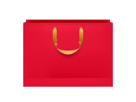 Blank red paper bag with golden handles. Packaging design mock-up.