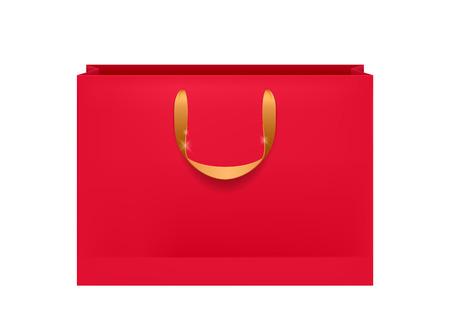 Blank red paper bag with golden handles. Packaging design mock-up.