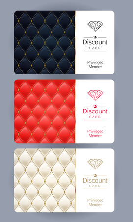 Discount gift cards set. Abstract quilted background. Vectores