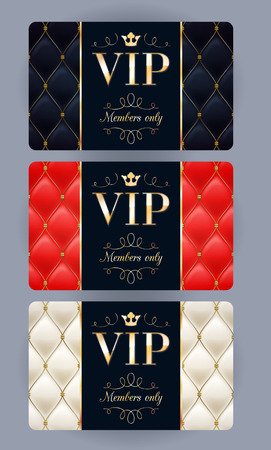 VIP cards with abstract quilted background. Different cards categories. Members only design. 矢量图像