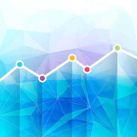 growth chart: Abstract graph chart timeline background. Mosaic faceted texture.