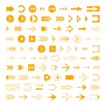 arrow icons: Arrows set, different styles cursors. User interface symbols design.