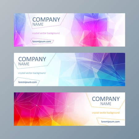 web site: Set of colorful mosaic faceted web site banners templates.