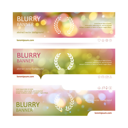 web site: Set of colorful blurry web site banners templates. Bokeh and laurel wreath backgrounds with icons.