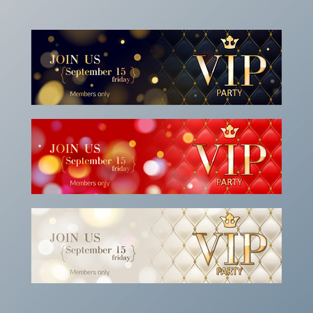 Set of colorful VIP party web site banners templates. Bokeh glow and quilted pattern backdrop.