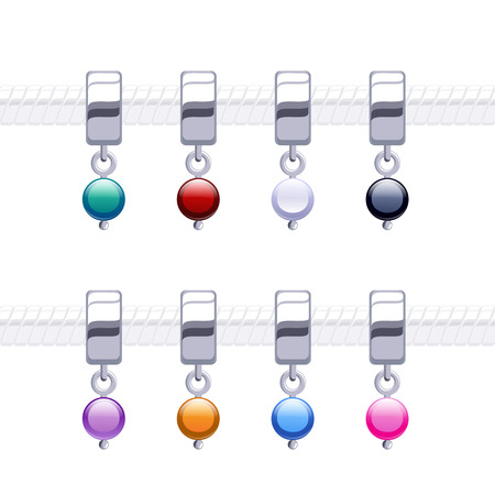 Assorted metal charm bead pendants for necklace or bracelet. Vector